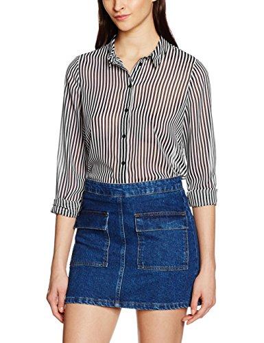 VERO MODA Damen Bluse Vmmary L/S Shirt NFS, Schwarz (Black Stripes:White), 38 (Herstellergröße: M)