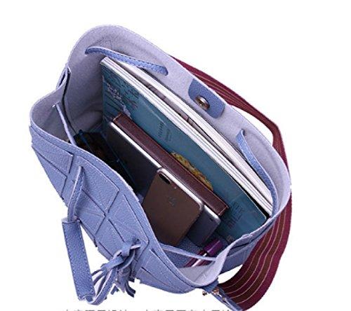 PDFGO Mode Handtaschen Zweiteilig Handtasche Schulter Messenger Geldbörse PU Eimer Tasche Tragetasche E
