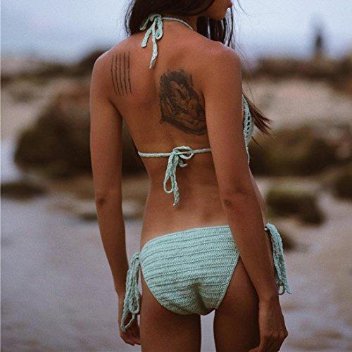 Igemy 1 Set Bohemien Frau Handgefertigt Gestrickt One-piece Overall Stricken Bikini-Set Bademode Strandkleidung Grün