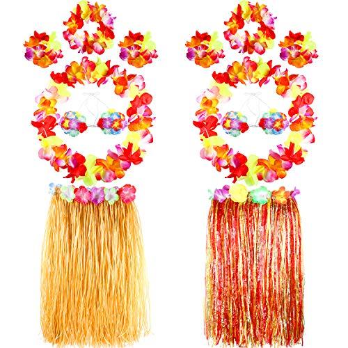 12 Stücke Hawaiian Hula Grass Rock Blume Leis Stirnband Armband Kostüme Sommer Strand Partei Girlanden Liefert (Hawaiian Grass Skirt Kostüm)
