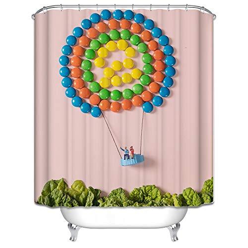 Coniea Bad Vorhang Stoff Süßigkeiten Heißluftballon Badewannenvorhang Bunt Badewanne Polyester Duschvorhang 165X200CM