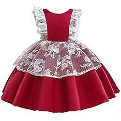 Yanhoo Karneval Mädchen Kleid Prinzessin Ärmellos Blumen Hochzeits Festzug Kleid Blumenmädchen Kleider Kleid Party Tüll Kleid Cosplay Kleidung