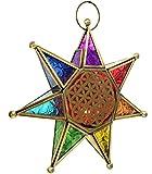 Guru-Shop Orientalische Glas Stern in Marrokanischem Design, Glas Laterne, Flower of Life Windlicht - Modell 5, Mehrfarbig, 26x26x5 cm, Teelichthalter & Kerzenhalter