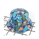 JUNHONGZHANG New Flamingo Printed Bucket Hat Women Cappellino Pescatore A Righe Summer Two Side Hip Hop Bob Cappellini Ladies Sun Beach Cappello da Pesca, 4