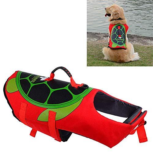 UTOPIAY Hundeschwimmweste, Schwimmweste für Hunde, Rettungsweste, Schildkröte Form, verstellbare Träger, Ripstop-Polyester Mit Griff, zum Schwimmen Surfen Bootfahren,S - Schildkröte Griff
