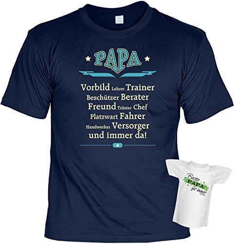 Väter Geschenke Set für Lehrer Trainer Versorger… T-Shirt PAPA VORBILD… und BESTER PAPA Mini Flaschenshirt DANKESCHÖN zum Vatertag Geburtstag zu Weihnachten in navy-blau Gr: L : ) (Baumwolle Tröster-mini-set)