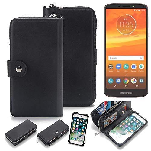 K-S-Trade 2in1 Handyhülle für Motorola Moto E5 Plus Dual-SIM Schutzhülle & Portemonnee Schutzhülle Tasche Handytasche Case Etui Geldbörse Wallet Bookstyle Hülle schwarz (1x)