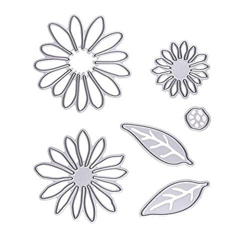Demiawaking 6 Pcs Blume Schneiden Schablonen DIY Sammelalbum Dekor Papier Karten, Metall Buchzeichen , Metall Lesezeichen als Geschenk fuer Freunde