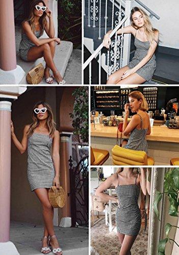 Minetom Donna Estate Vestito Cami Vestiti Abito Senza Maniche Sexy Halter Cravatta a Farfalla Elegante Spiaggia Cocktail Mini Dress Griglia