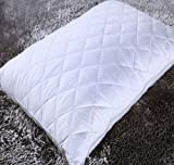 •RohiLinen• New Reformed Microfibre Quilted Pillow Protector Pair, White