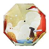 Paraguas infantil, plegable, colorida impresión 3D, resistente al vie..