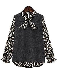 Haroty Las Mujeres Blusas de Gasa de Patchwork Camisa Irregular Suelto  Recto Ocasionales Imprimen Floral Mariposa 1b02b68fb3e