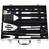 Juego de 9 utensilios para barbacoas y parrillas, de acero inoxidable con funda de aluminio, el juego de accesorios para parrillas ideal para papá