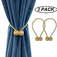 One Pair Magnetic Curtain Tiebacks Decorative Rope Holdback Holder (Gold)