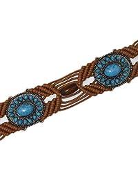 wonCacrostrans Femme Vintage Wood Perles Imitation Pierre précieuse tressé  Large Sangle de Ceinture… 3734e147f38