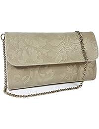 5acf4ea99abcd Freyday Echtleder Damen Clutch Tasche Abendtasche Muster Metallic 25x15cm