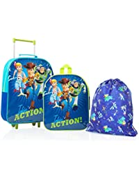 Disney Toy Story 4 Forky, Woody, Buzz, Bo Peep Backpack, Trolley Holiday Suitcase and Drawstring Bag, 3 Piece Travel Set, Kids Luggage Bundle