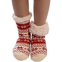 Calcetines Mujer Divertidos Invierno Antideslizantes Calcetines AlgodóN Navidad Imprimir Gruesas Piso Calcetines Alfombra