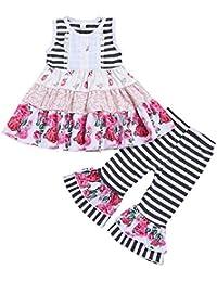2 Unids Set Baby Girl Estampado Floral Swing Dress Stripe Bell-Bottoms Pantalones  Set 04412a1495c