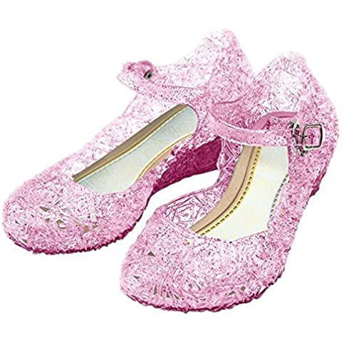 GenialES Disfraz Sandalias de Vestido con Tacón Plástico Princesa Queen Balnco para Cumpleaños Carnaval Fiesta Cosplay Halloween Niña