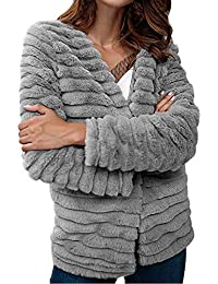 FELZ Abrigos Mujer Invierno Top de Abrigo de Piel de Conejo diseño Abrigo
