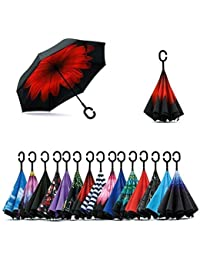 ShoppoZone Double Layer Inverted Reversible No Drip Umbrella with C shape Handle - Multi Color