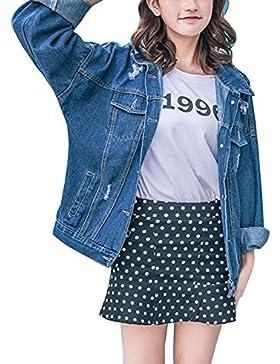 Mujeres Denim Boyfriend Chaqueta Vaquera Jacket De Mezclilla Abrigo Denim de Manga Larga