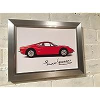 Ferrari Dino Poster Encadré avec reproduction d'autographe de Enzo Ferrari. Choix de 3cadres. Cadeau de Noël d'anniversaire, Argent polcore cadre, 320 x 320