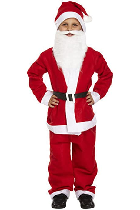 BOYS SANTA CLAUS FANCY DRESS COSTUME FATHER CHRISTMAS OUTFIT CHILDS KIDS XMAS