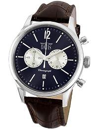 Davis - Montre Homme Retro Sport Vintage- Chronographe et date- Cadran Bleu - Bracelet Cuir Marron