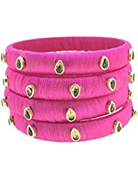 SURATNA Stylish & Beautious Silk Thread Bangles Pink Color 4 Pc Set For Women & Girls For Wedding & Festive Occasions...
