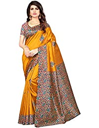 Saree Mall Cotton Silk Saree With Blouse Piece(Saree Women Latest Design 2018 Srja024_Yellow Free Size)