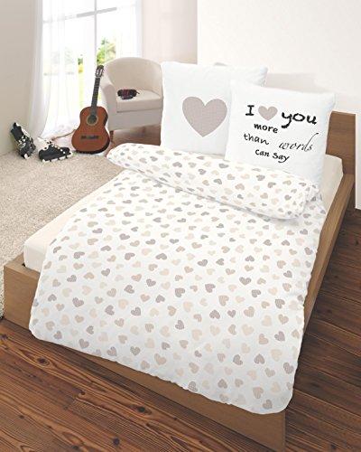 *HERZ Fein Biber Bettwäsche 155 x 220 100 % Baumwolle ❤ HEART & LOVE Liebe in Beige, Natur – Herzchen Print – Kissenbezug 80×80 + Bettbezug 155×220 cm Übergröße – Made in Germany*