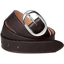 161feaaefa9fc0 CASPAR Damen Leder Vintage Gürtel aus weichem Nappaleder/Jeansgürtel  unifarben mit silberner glänzender Metallschnalle/