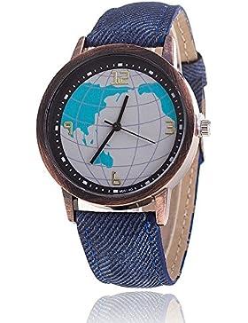 Unisex Armbanduhr Quarz Weltkarte Ziffern Alt gold Jeansband blau