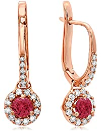 14 ct Rose Gold Round Ruby & White Diamond Ladies Halo Style Dangling Drop Earrings
