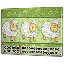Calendario perpetuo Retro Strassek oveja Metal Imantado