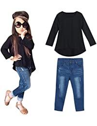 2PCS Bebé Negro manga larga camiseta +vaqueros Jeans pantalones ropa Conjunto,Yannerr niña primavera Verano tejana bordada Denim top Jersey mono traje