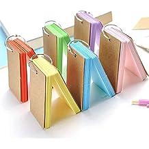 KESOTO Mini Karteikarten Set, 6 Stück Pocket Lernkarten mit Ring für Unterwegs, Bunt
