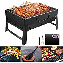 GolWof Barbecue Grill Portable Barbecue BBQ Grill Stainless Steel Folding Barbecue Charcoal Grill Outdoor with BBQ Mat, BBQ Clip and Oil Brush for Camping Festival Garden Picnic Party