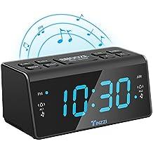 [NUOVA VERSIONE] Sveglia Digitale,Tinzzi Sveglia FM / AM Sveglia Digitale Da Comodino con Doppio Allarme, Funzione Snooze, Timer Spegnimento, Display LED Rosso Grande da 4.3 Pollici, Dimmer . (Black)