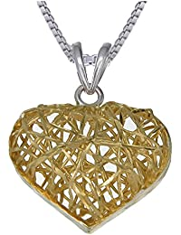 Yellow Gold Plated Sterling Silver Heart Pendant With 18 Inch Chain (3/4 Inch)