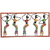 [Sponsored]Anil Art & Craft Iron 5-Doll Hand Painted Panel Wall Hanging With Glass & Bead Work For Decorative Gifts, Home Decoration And Room Decor, (71 Cm X 3 Cm X 36 Cm)
