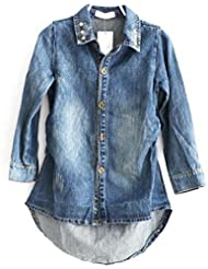 Toyobuy Enfant Chemise Denim Col Rond Relaxed Avec Boutons