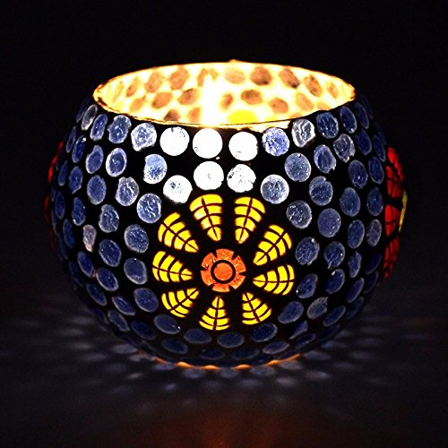 CraftVatika Mosaic Globe Tea Light Holder - Decorative Coloured Glass Beads Indoor/Outdoor - Handmade Mosaic Tea Light - Home Decor Wedding Party Gift Decoration (Model No.306)