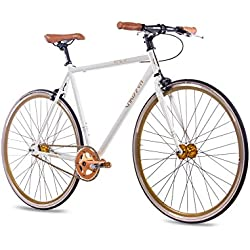 """28"""" pulgadas FIXIE SINGLESPEED de bicicleta para CHRISSON FG Flat 1.0Blanco Oro 2016"""
