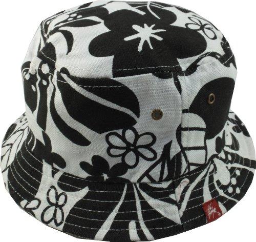 City Hunter Bucket Hat-Blume Stil, Weiß