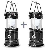 2 Packung Solar Camping Licht , HLZDH verfügbar Wiederaufladbare LED Camping Laterne und Taschenlampe Tragbar für Outdoor, Camping etc, Faltbare, Streckbare Lampe (schwarz)