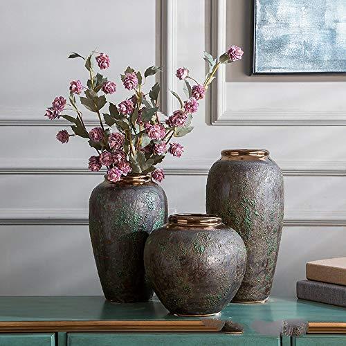 ase Aus Keramik, Antike Keramikblume, Alte Grüne Glasur, Heimdekoration, DREI Einzelteile ()