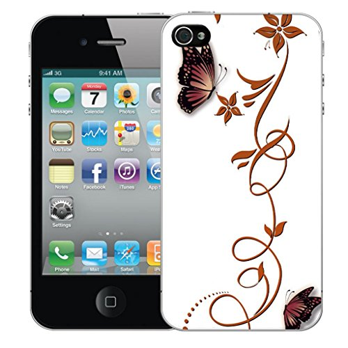 Mobile Case Mate iPhone 4s clip on Dur Coque couverture case cover Pare-chocs - cherished Motif butterfly vine